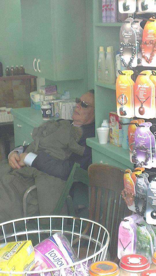 Doc Martin snoozing between takes