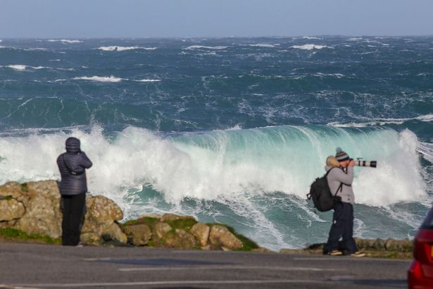 Strong winds have brought some big waves to Cornwall, pictured here at the far car park at Sennen Cove (Image: Greg Martin